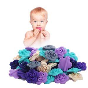 Schneidig 5x3d Blume Silikonperle Kinderkrankheiten Halskette Baby Beißring Diy Machen Bpa Kann Wiederholt Umgeformt Werden. Beißringe Baby