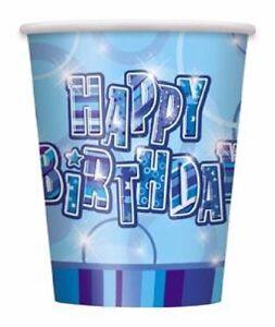 16-x-Blue-Glitz-Paper-Cups-270ml-Happy-Birthday-Boys-Party-Tableware-Supplies