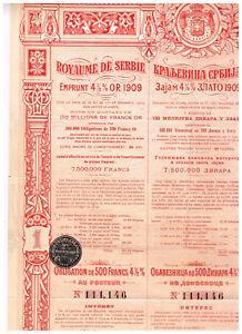 Koenigreich-Serbien-Goldanleihe-von-1909-500-FF-Gold-uncancelled