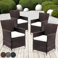 4 Poly Rattan Chair Set Outdoor Patio Conservatory Home Garden Furniture Cushion