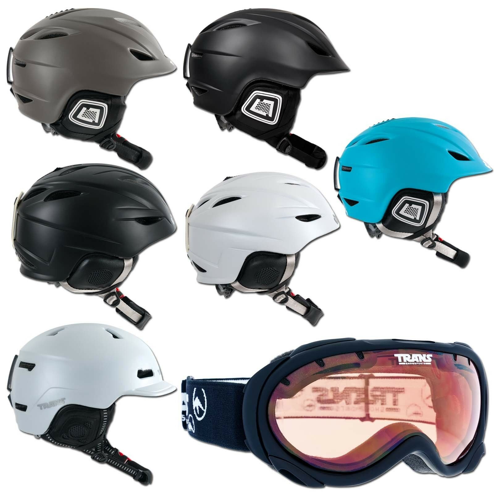 Men's & Women's Ski & Snowboard Helmet Trans 900 1200 1500  S M L XL + Glasses