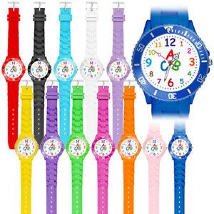 Bunte-Silikonuhr-Quarz-Kinder-Armbanduhr-Schueler-Schulanfang-Lernuhr-Zahlen-Uhr