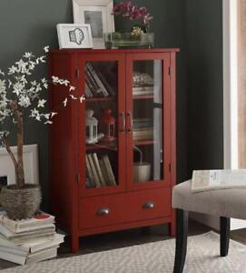 Cool Details About Red Cabinet Pantry Storage 2 Glass Door 1 Drawer Kitchen Living Dining Room Interior Design Ideas Apansoteloinfo