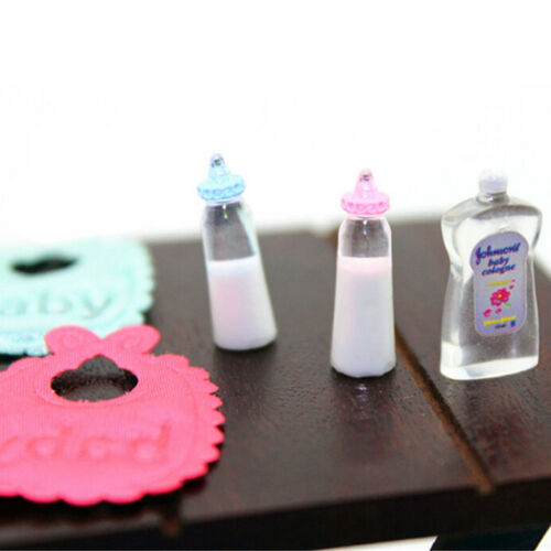 1:12 casa de muñecas en miniatura de botellas de bebé Champú Baberos Set Vivero Accesorios Regalo #