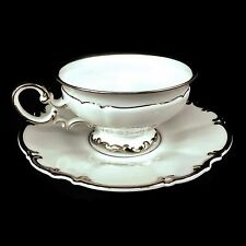 Hutschenreuther Selb Sylvia Revere Pasco White Platinum Trim Cup and Saucer
