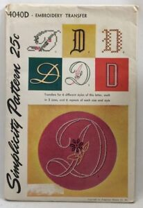 1952-Simplicity-Transfer-Pattern-4040D-Letter-034-D-034-Embroidery-Hot-Iron-3684F