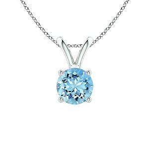 7mm Aquamarine Solitaire Round Pendant Necklace - 14k White Gold/Sterling Silver