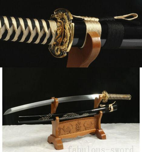 DRAGON TSUBA MURAI SWORD JAPANESE KATANA  Phoenix SAYA 龙凤呈祥 HIGH CARBON STEEL