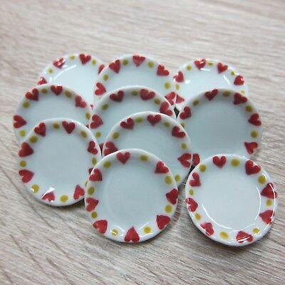 Green Mini Heart Plate Dollhouse Miniatures Ceramic Supply Food 5x3.00 cm