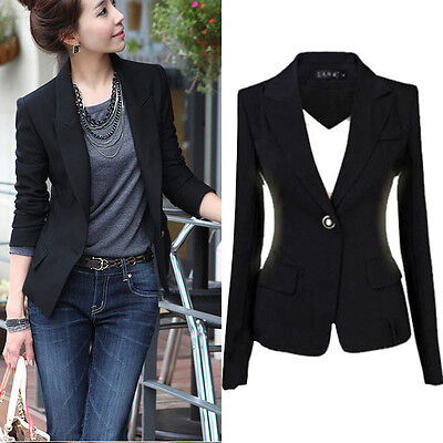 Fashion Women One Button Slim Casual Business Blazer Suit Jacket Coat Outwear