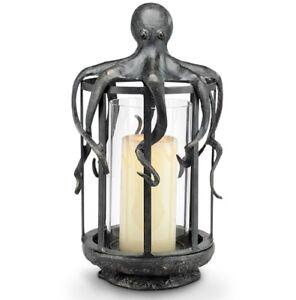 Image Is Loading Octopus Lantern Hurricane Candleholder Coastal Nautical Ocean Candle