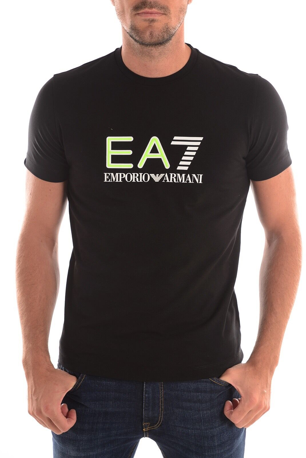 EMPORIO ARMANI EA7 grandi FLUORESCENTE sollevato Gomma Logo Tee Nuova Nero Taglie S-XL Nuova Tee con etichetta 40591a