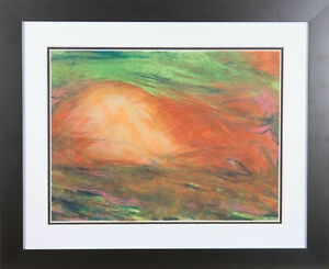 Don Hemming - Contemporary Chalk Drawing, Green Sky, Red Hill