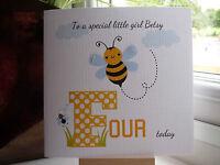 Cute Handmade Personalised Girls Busy Bee Birthday Card 2 3 4 5 6 7 8 9 10 11 12