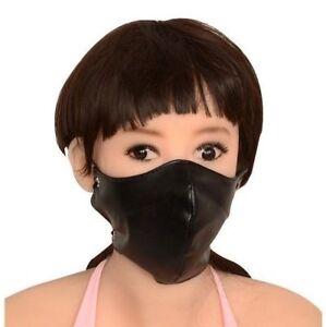 Masque-avec-gode-bouche-gag-sm-noir-en-034-cuir-034-Fetish