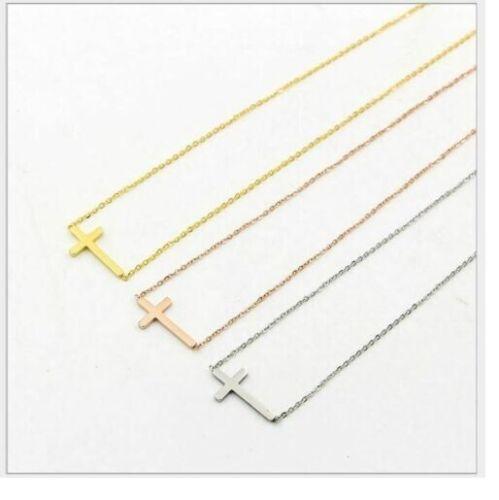 "Women Sideways Cross 16/""-18/"" Necklace Silver Gold Stainless Steel Pendant Gift"