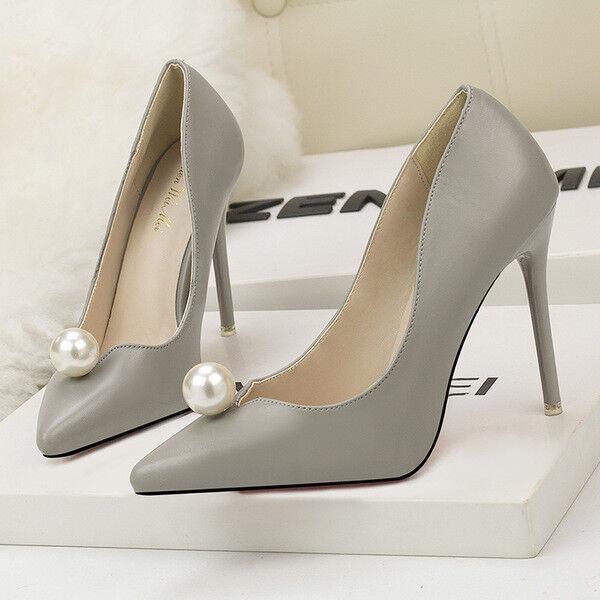 pumps frau 10 elegant stilett elegant grau perlen simil leder 9657