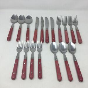 18 Piece Set of Mauve Handle Rivet Stainless Steel China Flatware Silverware