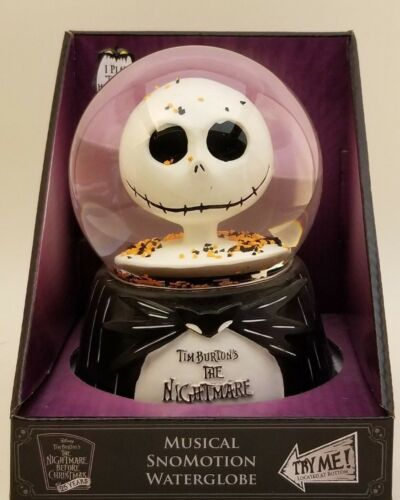 Nightmare Before Christmas Jack Skellington /& Zero Light up Musical Snow globe