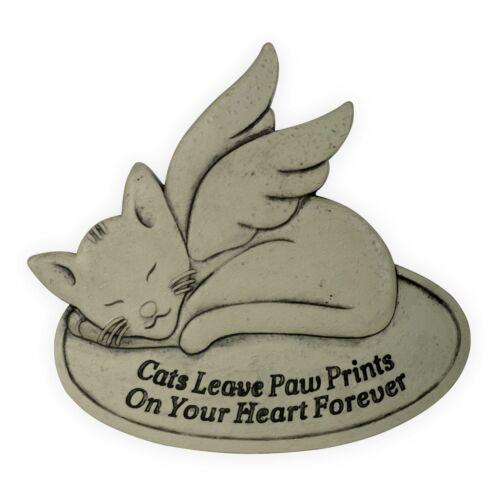 AngelStar Pet Cat Memorial Garden Stone Plaque Pawprints on Your Heart Forever