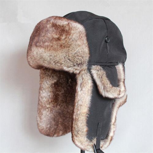 Men/'s Winter Warm Ski Ushanka Fur Hat Ear Flap Eskimo Trapper Thicken Cap Gift
