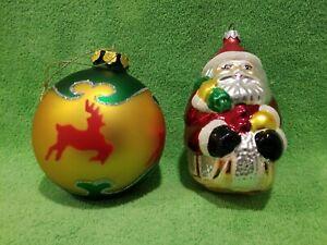 VINTAGE-Large-Mercury-Glass-Christmas-Ornaments-Reindeer-4-034-amp-Santa-5-034