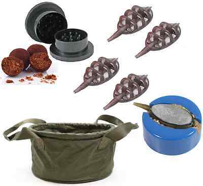Carp Fishing Green Ground Bait Bowl + 4 x Method Feeders + Mould + Bait Grinder