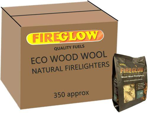 Fireglow Natural Firelighters Long Burning Wax Wood Wool Fires BBQ 300g per pack