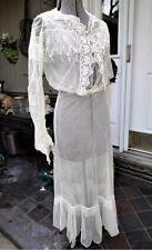 ANTIQUE EDWARDIAN SOFT COTTON NET EMBROIDERED LACE DAY DRESS