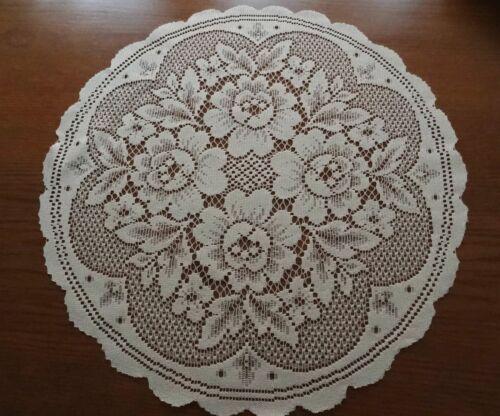"Heritage Lace /""Ivory/"" Roses Round Polyester Doliy 17/""  /""New/"" 9"