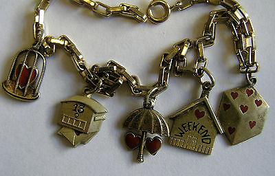 Antique Deco Silver Gilded Enamel Heart Charm Bracelet w/ 5 Sweetheart Charms