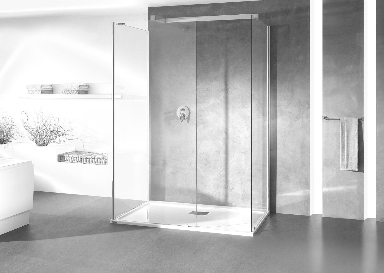 Hansgrohe + Hoesch - WALK IN Premium-Duschkombination 140x90cm Vorwandversion