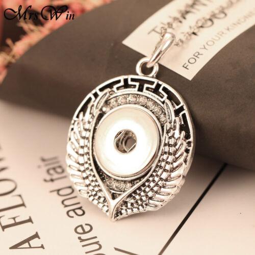 Nouveau vintage Ailes d/'Ange 18 mm Snap Bouton Collier Pendentif Pour Noosa Bijoux