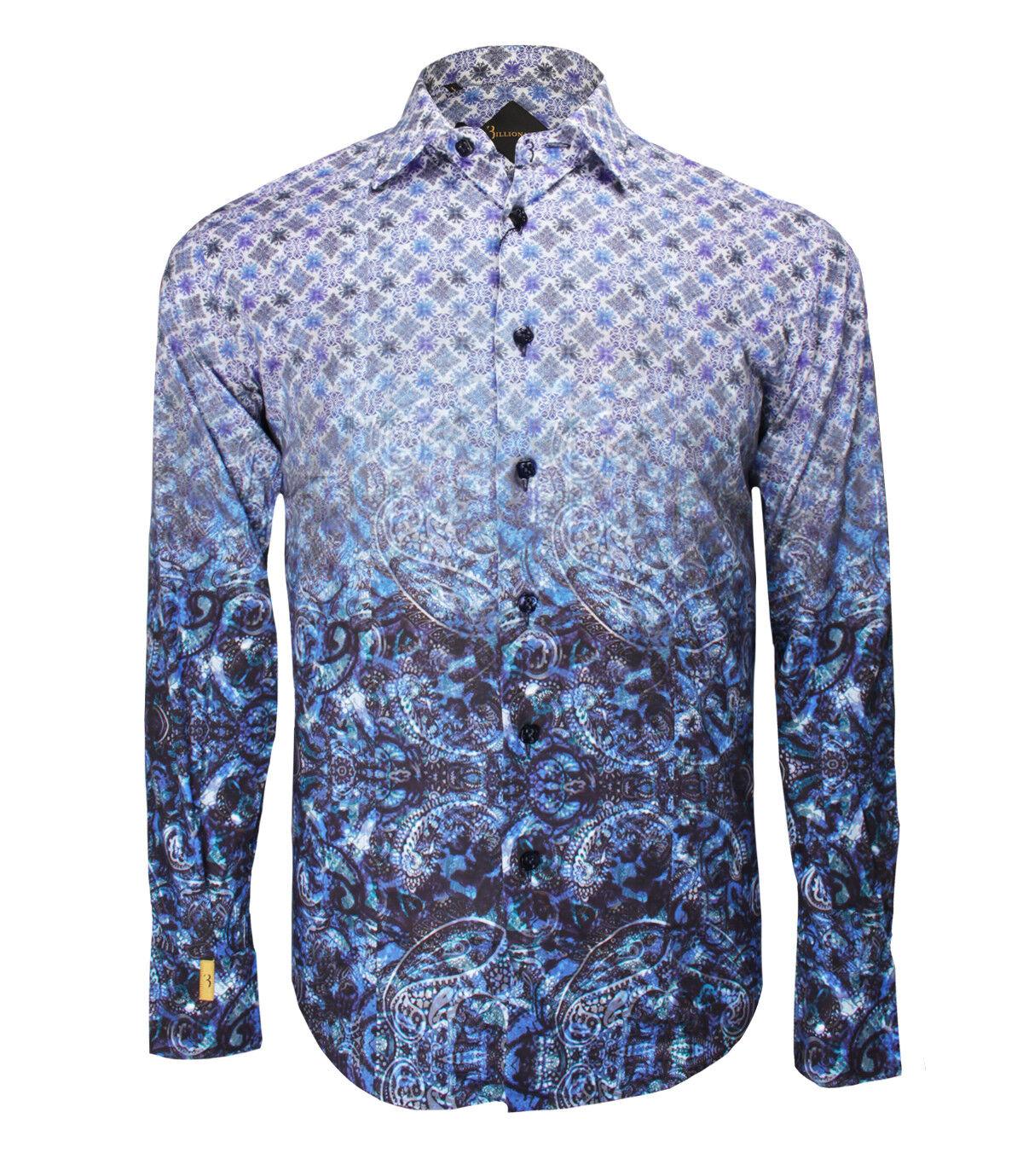 Billionaire Couture Men's bluee Floral Cotton Shirt Paris Asian fit, size 39, 42