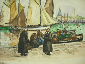 Signed-Yvon-Brittany-Finistere-c1950-Port-of-Concarneau-Sailboats-Boats-of-Peach
