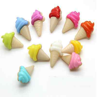 100 Pcs Mixed Colors Ice Cream Plastic Backhole Shank Buttons Baby Kids Sewing
