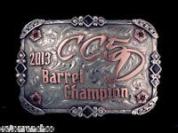 Custom Mortenson Championship Rodeo Trophy Belt Buckle 5d Barrel Racing Racer