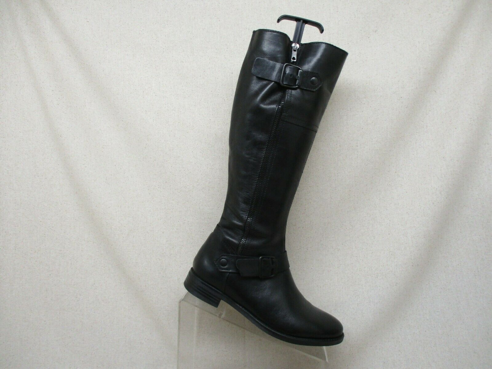 ALDO Black Leather Side Zip Buckle Knee High Fashion Riding Boots Size 37 EUR