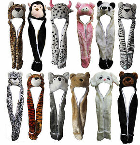 Hat-Animal-Fluffy-Imitation-with-Hood-Scarf-Long-Mittens-Pocket-Popular-Lovely-A