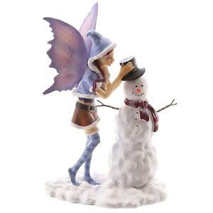 Figura Hada Navideña con Muñeco de Nieve. Natasha Faulkner, christmas Fairy