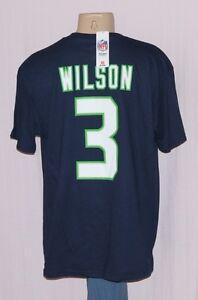 pretty nice fca25 10d3d Details about Seattle Seahawks Russell Wilson Jersey T-Shirt Navy 2XL - NFL