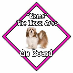 Personalised-Dog-On-Board-Car-Safety-Sign-Lhasa-Apso-On-Board-Pink