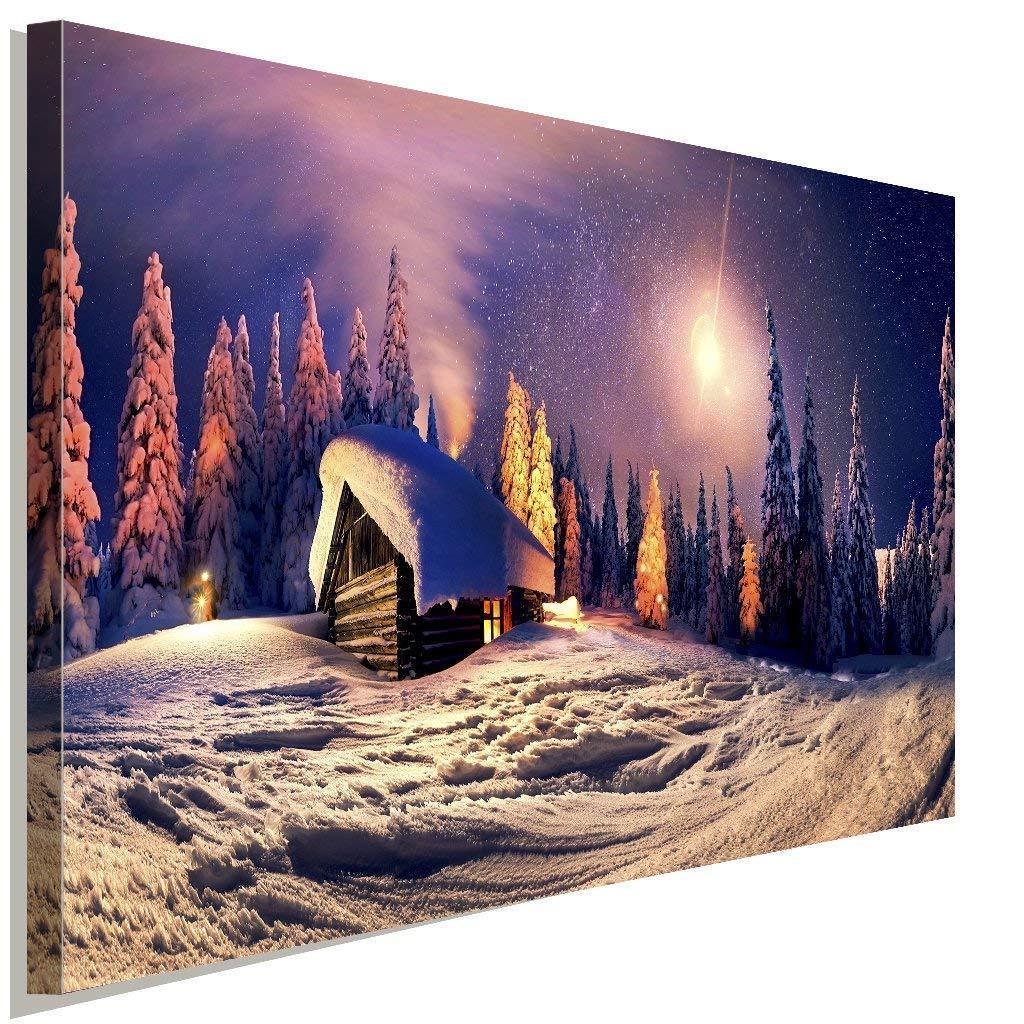 Berg-Hütte im Schnee Wald Weihnachten Leinwandbild AK ART Wanddeko Wandbild XXL