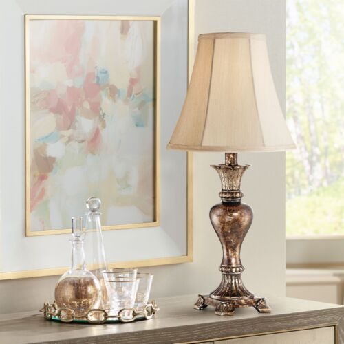 Traditional Table Lamp Warm Bronze Urn Footed Base for Living Room Bedroom