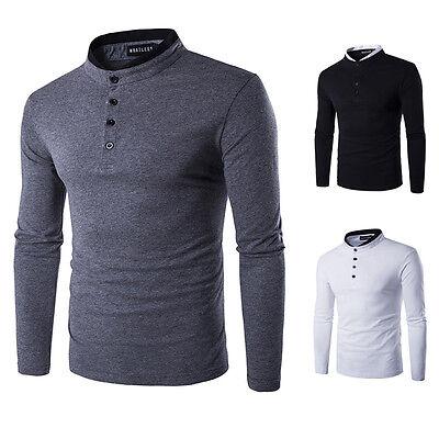 Korean Mens Man Stylish Casual Slim Fit Long Sleeve Half Buttons Placket T-Shirt