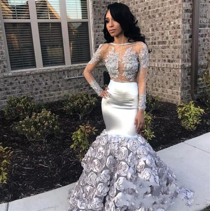 Fina blommor Mermaid Prom Kläder Appliques Sheer Long Slieve Evening Gowns