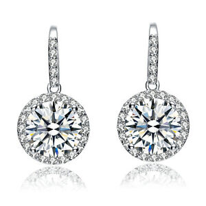 Sterling Silver 925 Round Green Tourmaline CZ Pave Halo Elegant Drop Earrings