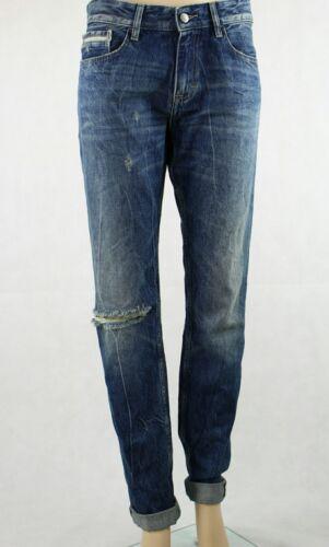 W32 Blue Rrp Mens Ripped Calvin Knee Scarred L34 £150 Jeans Slim Klein AZWcfw4qS