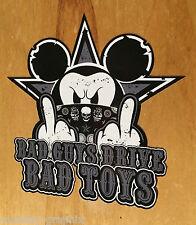 BLACK Bad Toys Oldschool Aufkleber Maus Oldtimer US Car Sticker V8 Rat Rod Biker