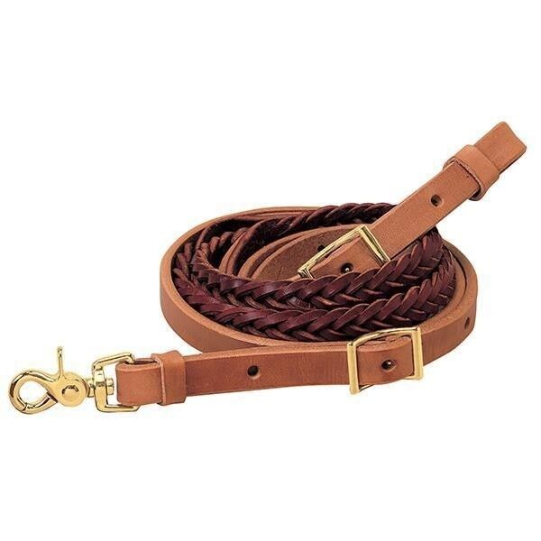 Weaver Leather Harness and Latigo Leather 5-Plait Roper Rein, 3 4  x 7'